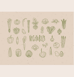 vegetables icons handmade line style beige vector image