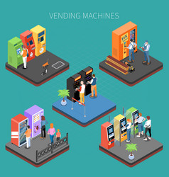 vending machines isometric composition vector image
