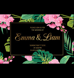 Wedding invite pink orchid flowers jungle leaves vector