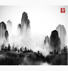 Wild forest trees and high mountains in fog hand vector