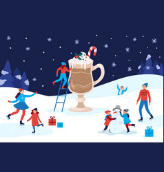 winter warming cocoa mug happy people winter vector image