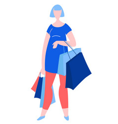woman standing with purchase buy paper bags vector image
