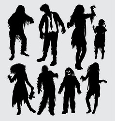 Zombie male and female action silhouette vector