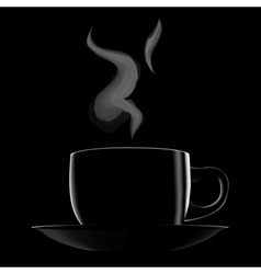 Black hot cup of coffee vector image vector image