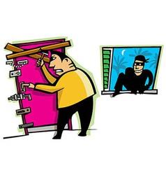 Burglar breaks into house vector image vector image