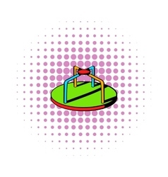 Colorful merry-go-round icon comics style vector image vector image