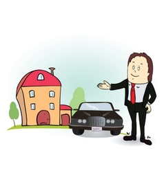 Man indicates his hands on the house and car vector image