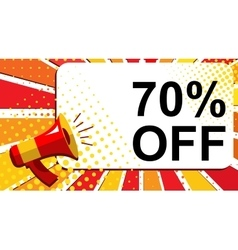 Megaphone with 70 PERCENT OFF announcement Flat vector image vector image