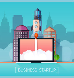 successful startup business concept rocketship on vector image