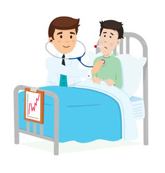 Doctor caring for a patient vector image vector image