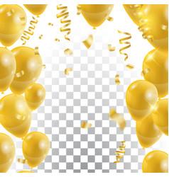 golden balloons celebration background template vector image