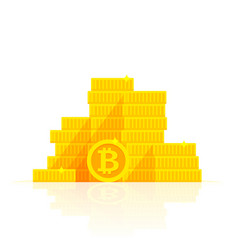 golden bitcoins stack icon for cryptocurrency vector image