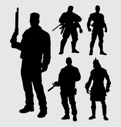 hero with gun silhouette vector image vector image