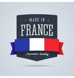 Made in France badge with ribbon and flag vector image vector image
