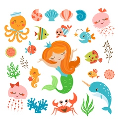 Mermaid and sea friends vector image