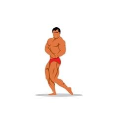 Attractive male bodybuilder demonstrating contest vector image