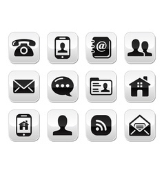 Contact black buttons set - mobile phone email vector image vector image