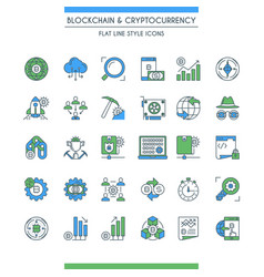 flat line design cryptocurrency icons vector image vector image