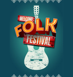 folk festival poster with acoustic guitar shape vector image vector image