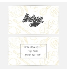 Bakery business cards with hand lettering logo vector image