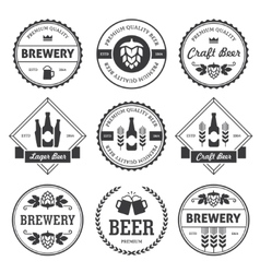 Black beer labels isolated on white vector image vector image