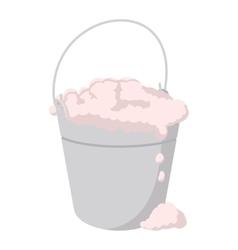 Bucket with foamy water cartoon icon vector image vector image