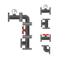 pipe connector set vector image