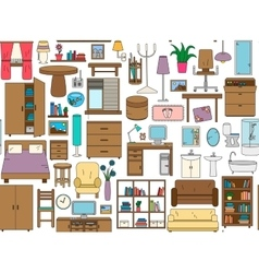 Seamless pattern with icons for Interior Thin vector image