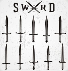 Sword silhouettes vector