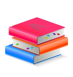 Three book with bookmark vector image