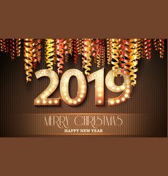 2019 new year count symbol with light bulbs vector