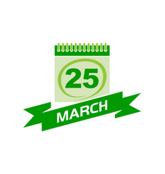 25 march calendar with ribbon vector