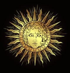 Antique style sun with face god apollo vector