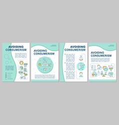 Avoiding consumerism blue brochure template vector