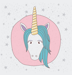 Background starry with front face of unicorn in vector