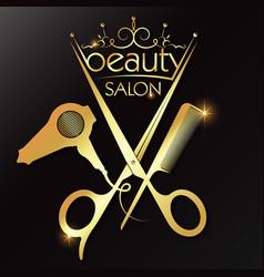 Beauty golden symbol scissors comb hair dryer vector