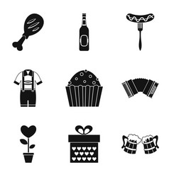 beer festival icons set simple style vector image