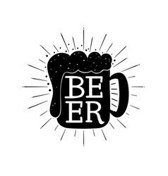beer hand written lettering composition on mug vector image