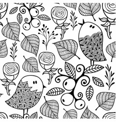 Black and white seamless pattern with doodle vector