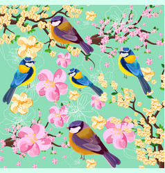 Blossom cherry flowers branch and birds pattern vector