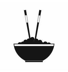 bowl rice with pair chopsticks icon vector image