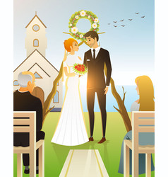 bride and groom wedding ceremony on beach by vector image