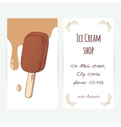 Business card template with hand drawn chocolate vector image