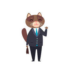 Businessman cat standing with briefcase humanized vector