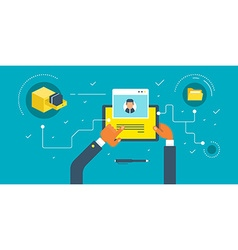 Businessman holding a tablet Keeping photos in vector image