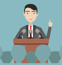 businessman presenting his ideas press conference vector image