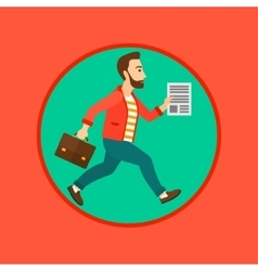 Businessman running with briefcase vector image