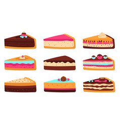 cake slices sweet sliced birthday pie cheesecake vector image