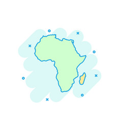 cartoon colored africa map icon in comic style vector image