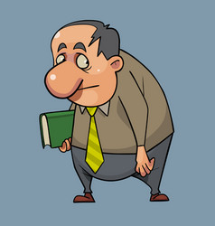 Cartoon sad scared man standing with a book in his vector